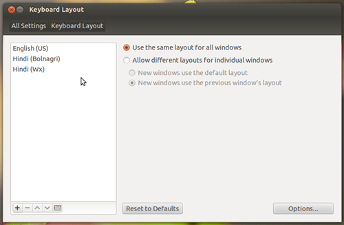 Ubuntu Linux Hindi Key Layouts
